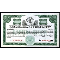 North Carolina Bank and Trust Co., Specimen Stock.