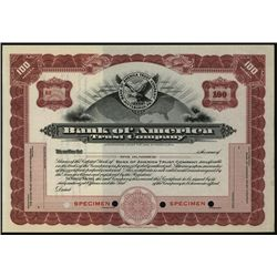 Bank of American Trust Co. Specimen Stock.