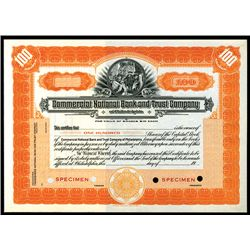 Commercial National bank and Trust Co. of Philadelphia, Specimen Stock.