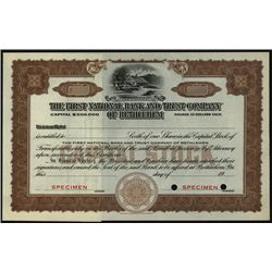 First National Bank and Trust Co. of Bethlehem, Specimen Stock.