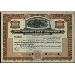 First National Bank Conshohocken, Specimen Stock.