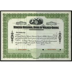 Miner National Bank of Wilkes-Barre, Specimen Stock.