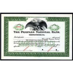 Peoples National Bank, Specimen Stock.