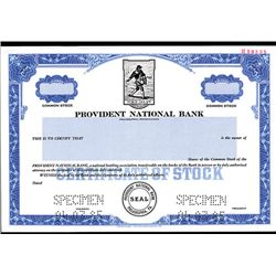 Provident National Bank, Specimen Stock.