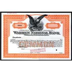 Warren National Bank, Specimen Stock.