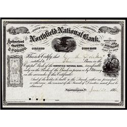 Northfield National Bank, 1870's-1880's, Issued Stock. Lot of 5.