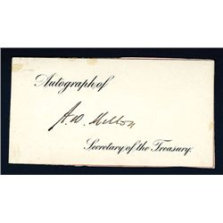Andrew Mellon Signature on Small Card.