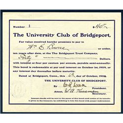 University Club of Bridgeport Issued Bond.