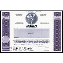 Orion Pictures Corp. Specimen Stock.