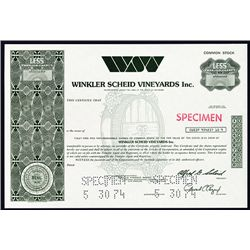 Winkler Scheid Vineyards Inc., Specimen Stock.