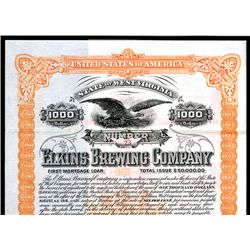 Elkins Brewing Co., Issued Bond.