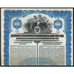 Austrian Guaranteed Loan 1923-1943 Specimen Bond.