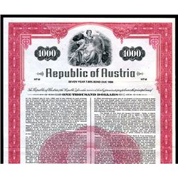 Republic of Austria, Specimen Bond.