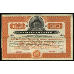 Banco Mercantil Specimen Bond.