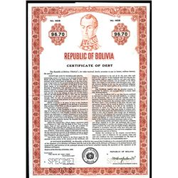 Republic of Bolivia Specimen Bond.