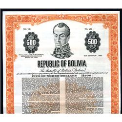 Republic of Bolivia, Specimen Bond.