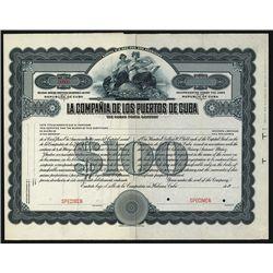 Compania de los Puertos de Cuba Specimen Stock.