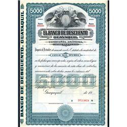 Banco de Descuento Guayaquil, Specimen Bond.