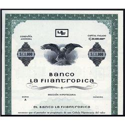 Banco La Filantropica Specimen Bond.