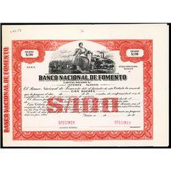 Banco Nacional De Fomento, Specimen Bond.