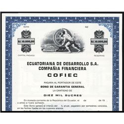Ecuatoriana de Desarrollo S.A Specimen Bond.