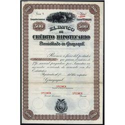 El Banco de Credito Hipotecario Specimen Bond.