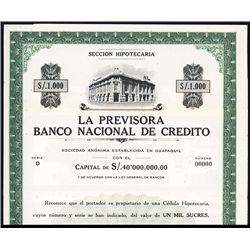 La Previsora Banco Nacional de Credito Specimen Bond.