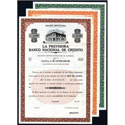 Previsora Banco Nacional de Credito, Specimen Bonds.