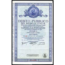 Debito Pubblico Del Regno D'Italia, 3.5% Bond Lot of 8.
