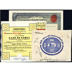 Indian and Hungarian Assorted Stocks and Bonds, Lot of 3.
