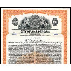 City of Amsterdam, Specimen Bond.