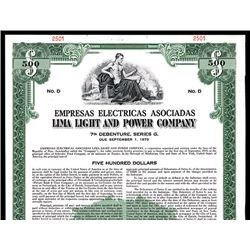 Lima Light and Power Co., Specimen Bond.