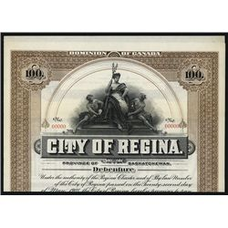 City of Regina Specimen Bond.