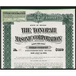 Tonopah Masonic Corp. Issued Bond.