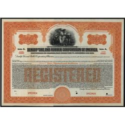 Dunlop Tire and Rubber Corp. of America, Specimen Bond.