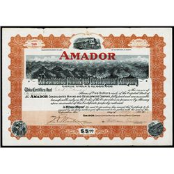 Amador Consolidated Mining and Development Co., Issued Bond.