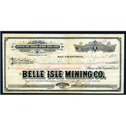 Belle Isle Mining Co., Issued Stock.