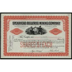 Spearhead Bullfrog Mining Co., Issued Stock.