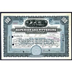 Superior and Pittsburg Copper Co., Issued Stock.
