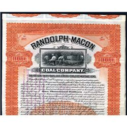 Randolph-Macon Coal Co., 1905 $1000 Issued Bond.