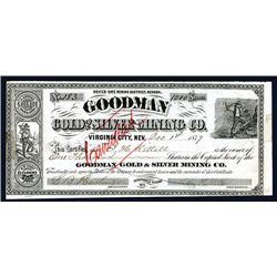 Goodman Gold and Silver Mining Co., 1877 Stock Certificate.