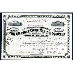 Sierra Apache Mining Co., Issued Stock.