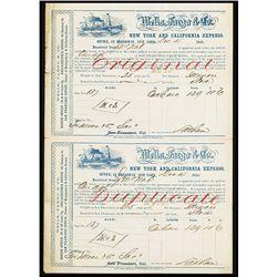 Wells Fargo & Co., 1858, Shipping Receipt.