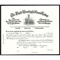Right Worshipful Grand Lodge, Masonic related Specimen Certificate.