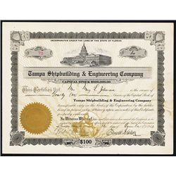 Tampa Shipbuilding & Engineering Co. Issued Stock.