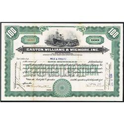 Gaston, Williams & Wigmore, Inc. Issued Stock.