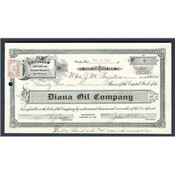 Diana Oil Company, 1900 Issued Stock Certificate.