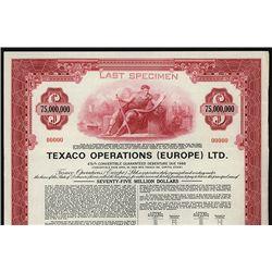 Texaco Operations (Europe) Ltd. Specimen Bond.