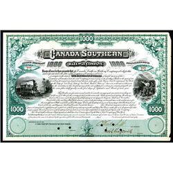 Canada Southern Railway Co., 188x, $1000 Bond with Cornelious Vanderbilt, Jr. Signature as VP.
