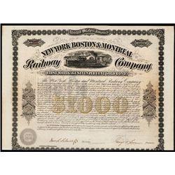 New York Boston & Montreal Railway Co. Issued Bond.